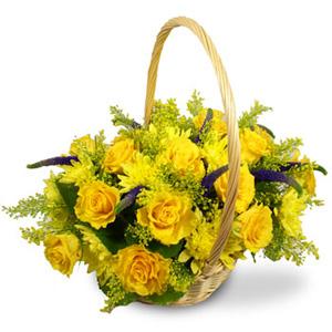 Цветочная корзина Желтый шелк